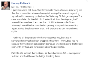 Click to enlarge. Message from Harvey on Facebook.
