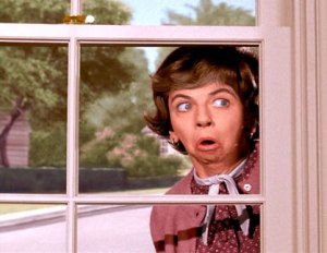Gladys Kravitz, the nosey neighbor from Bewitched.
