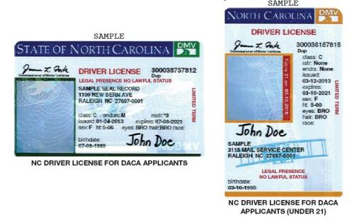 Sample of NC DACA Drivers License. Note the RED 'NO LAWFUL STATUS' displayed on the front of these.