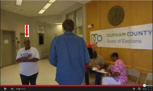 Why is a Doretta Walker campaign worker allowed into the Durham County Board of Elections? AND while Voting is taking place?