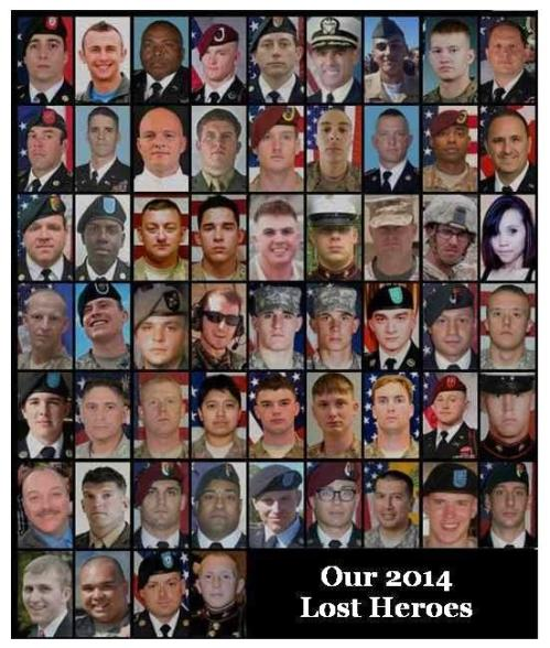 The 58 Men & Women who paid the Ultimate price for your Freedoms.
