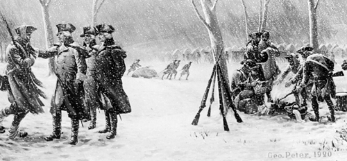 Soldiers in snow American Revolution, Peter George, 1920