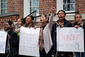 UNC-CH Students protest Saunders Building. (Photo from the Daily Tar Heel)
