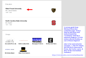 A portion of Sir Biesecker's LinkedIn page showing Education & his Groups. Again, Click to enlarge.