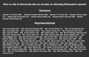 The list of those who boycotted Bibi's Speech. Click to enlarge.