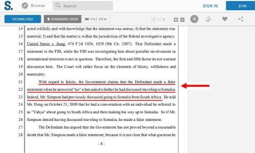 Screengrab from the court document on Mr. Simpson's case. Click to enlarge.