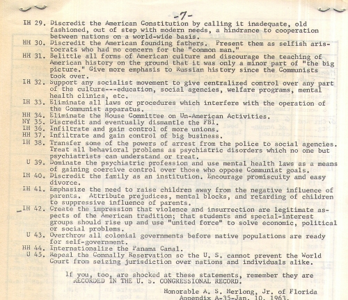 A.S. Herlong's note from his speech to the HOUSE on January 10, 1963 -- The Communist Goals. This is Page 7.  Click to enlarge the image.